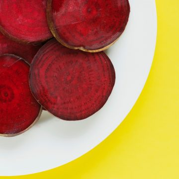 Sliced beetroots on a plate.